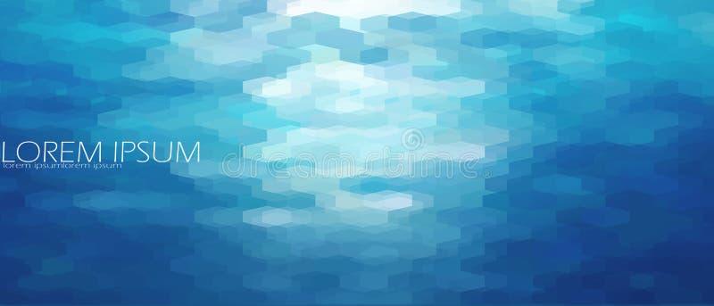蓝色水色水海背景模板 水下的抽象几何看法波纹波浪光亮的轻的海洋横幅 向量例证