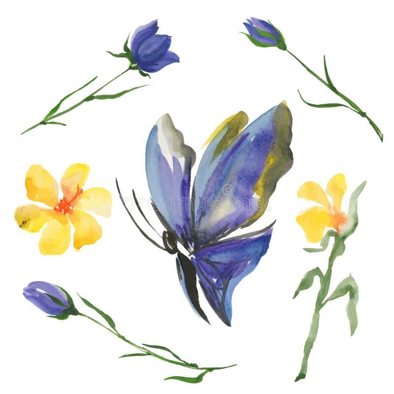 蓝色蝴蝶和花 向量例证