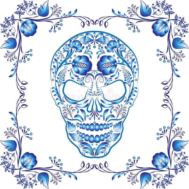 蓝色仿造了有花的头骨在框架 库存例证