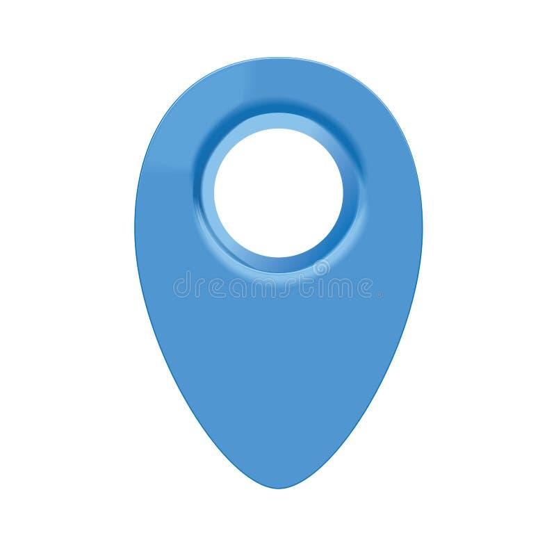 蓝色3d地图geo别针 库存例证