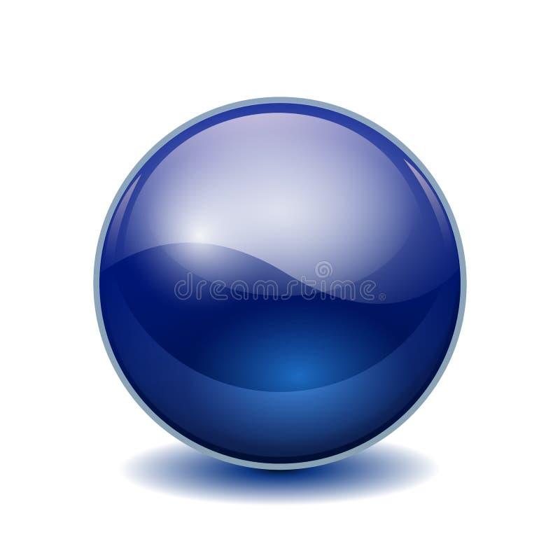 蓝色3D水晶不可思议的球形 与阴影的玻璃透明球–储蓄传染媒介 皇族释放例证