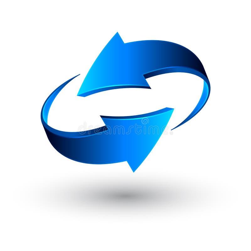蓝色3d箭头,传染媒介 库存例证