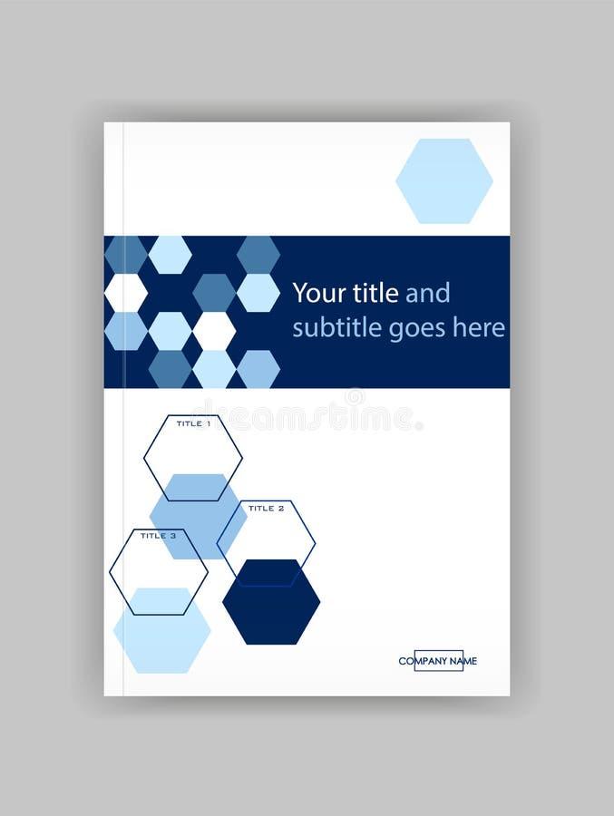 蓝色A4企业书套设计模板 有益于股份单, 向量例证