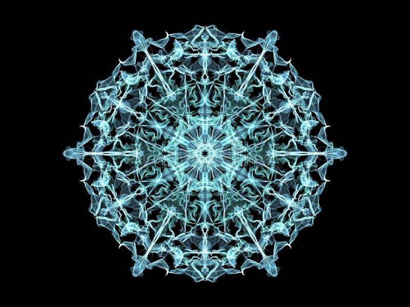 蓝色abstarct火焰坛场花,装饰花卉圆的patt 向量例证