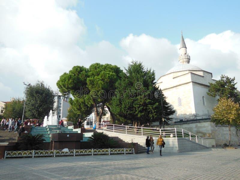 蓝色Archaeroligical公园和菲鲁兹Aga清真寺,伊斯坦布尔 库存图片