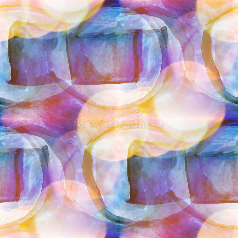 蓝色Bokeh五颜六色的样式水的纹理,黄色油漆摘要 向量例证