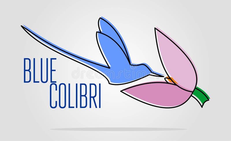蓝色colibri商标 登陆的鸟的简单的平的彩色插图 向量例证