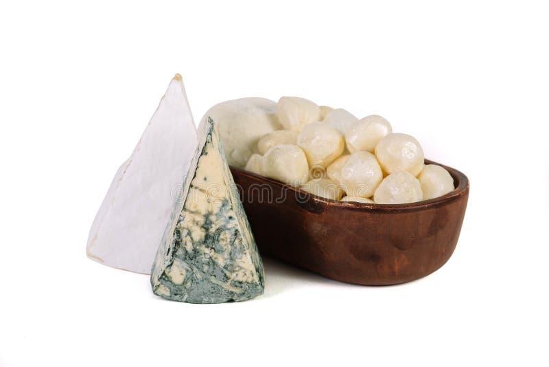蓝色dor的片断和bree乳酪和无盐干酪ba板材  库存图片