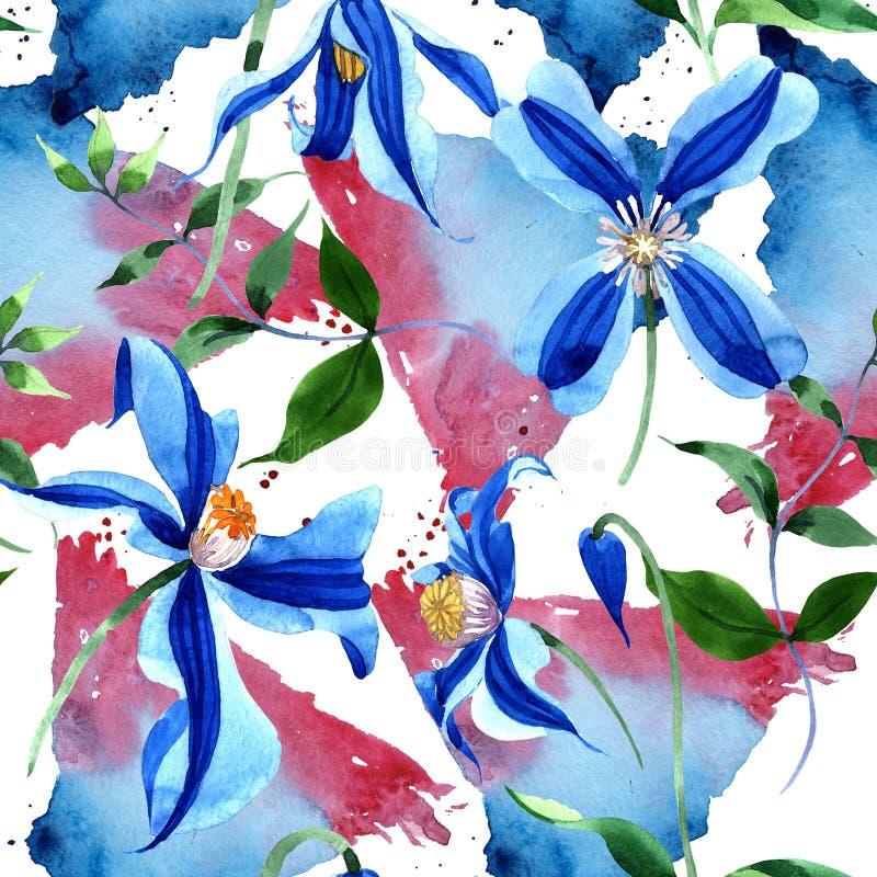 蓝色durandii铁线莲属 花卉植物的花 无缝的背景模式 织品墙纸印刷品纹理 向量例证