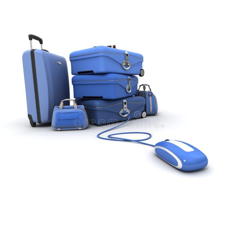 蓝色e旅行 向量例证