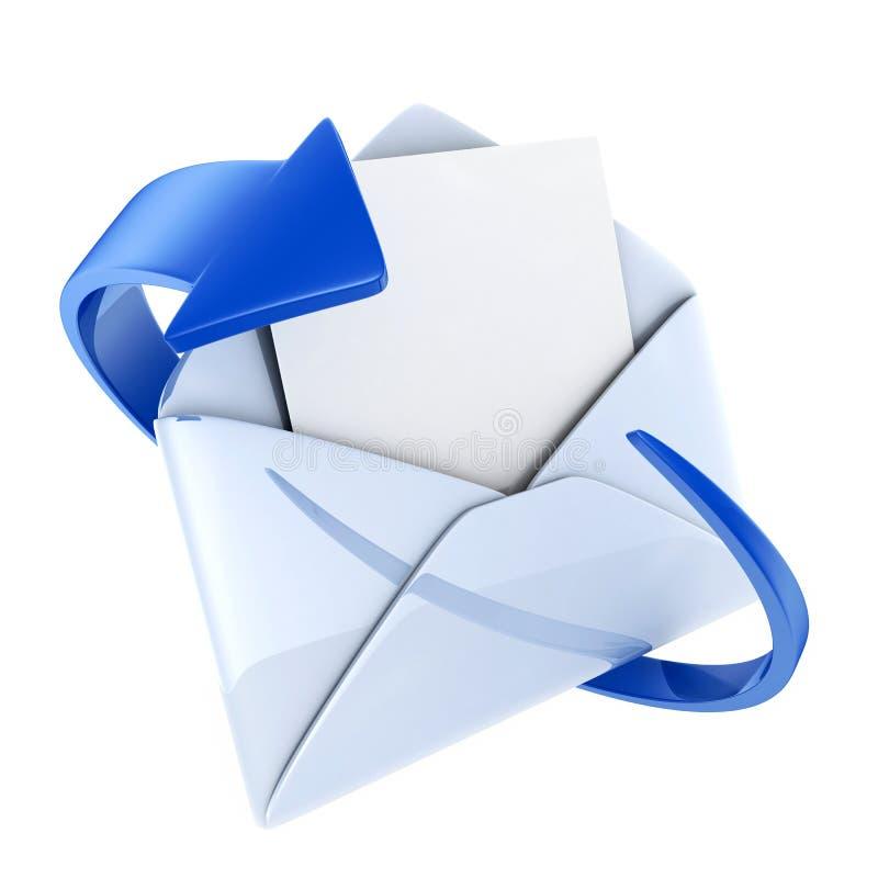 蓝色e邮件 向量例证