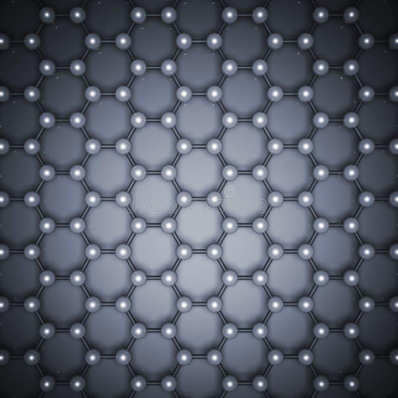蓝色graphene层型结构3d,顶视图 库存例证