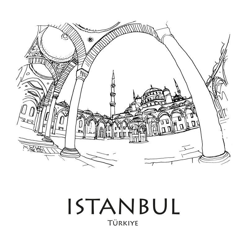 蓝色Moscque,伊斯坦布尔,土耳其 手创造了剪影 皇族释放例证