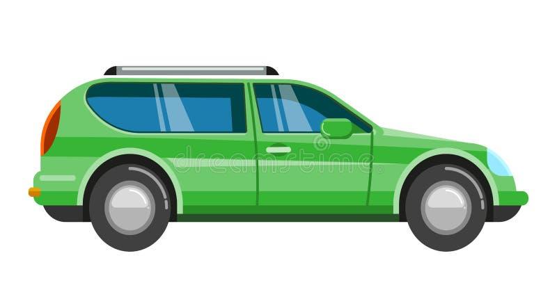蓝色SUV汽车 吉普家庭跑车汽车体育越野车 库存例证
