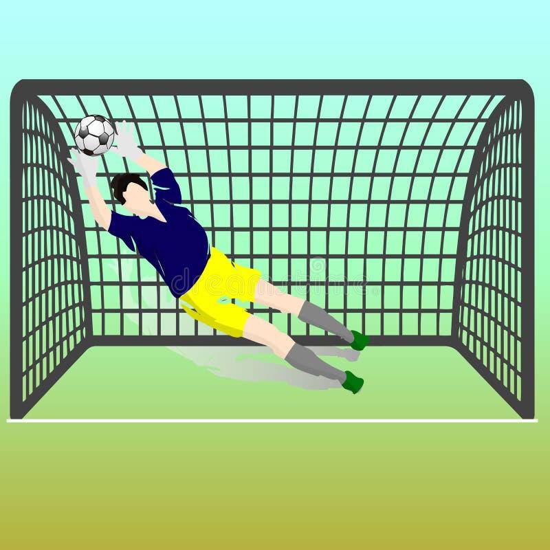蓝色T恤杉和黄色短裤的橄榄球守门员捉住Th 库存例证