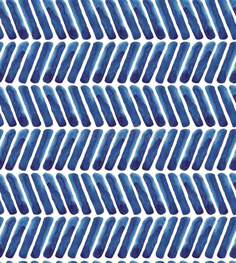 蓝色V形臂章水彩样式 海军背景 免版税库存图片