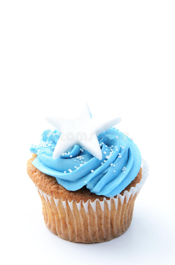 蓝色xmas杯形蛋糕 库存图片