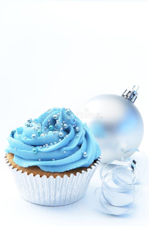 蓝色xmas杯形蛋糕 库存照片