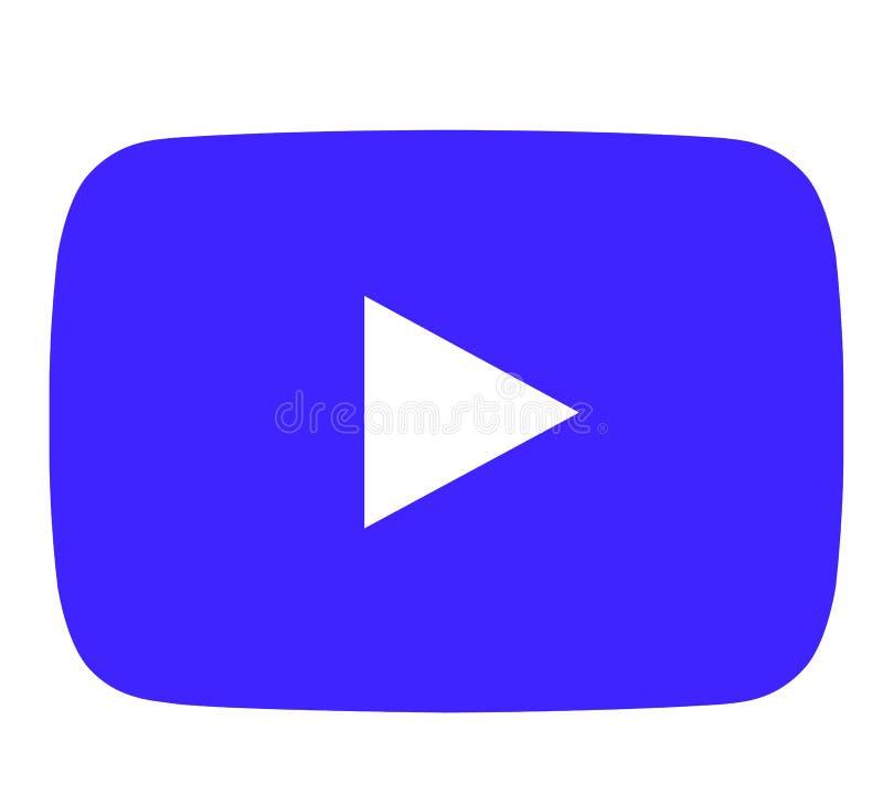 蓝色Youtube象 向量例证
