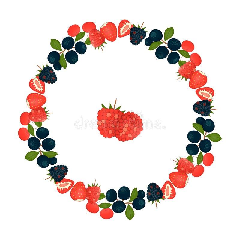 蓝莓传染媒介花圈与绿色叶子的 向量例证