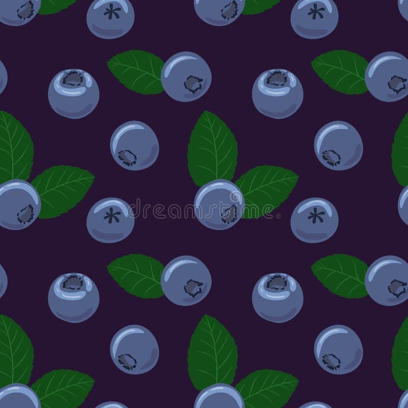 蓝莓传染媒介无缝的样式 与绿色叶子的自然新鲜的成熟鲜美蓝莓 皇族释放例证
