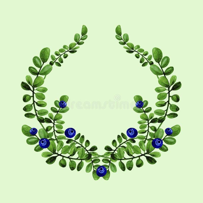 蓝莓分支的水彩花卉例证与绿色叶子的缠绕 库存图片