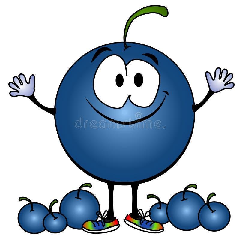 蓝莓动画片表面微笑 向量例证