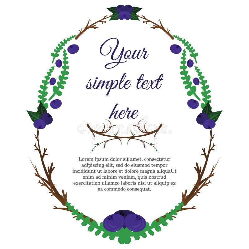 蓝莓和分支逗人喜爱的花圈  看板卡复活节 您模板的文本 向量例证