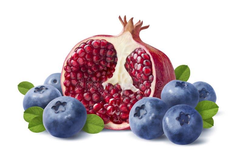 蓝莓和石榴半在白色背景 图库摄影