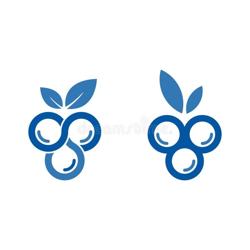 蓝莓商标设计观念 森林果子创造性的标志模板 库存例证