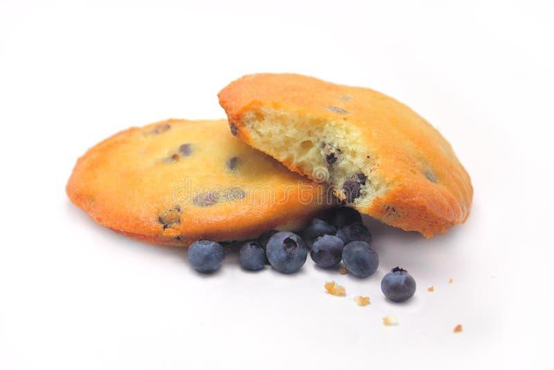 蓝莓巧克力片松饼上面 免版税库存图片