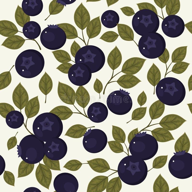 蓝莓无缝的样式 库存例证