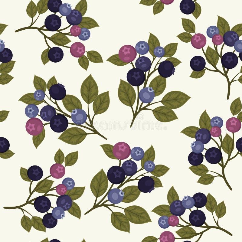 蓝莓无缝的样式 皇族释放例证