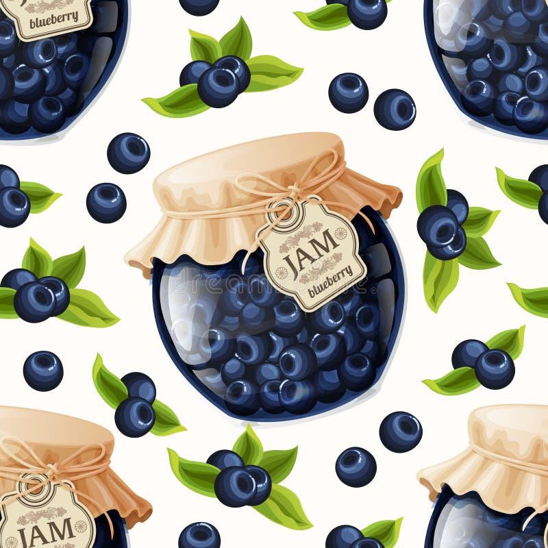蓝莓果酱无缝的样式 向量例证