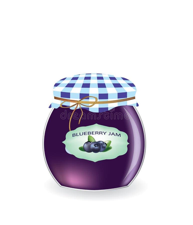 蓝莓果酱瓶子 向量例证
