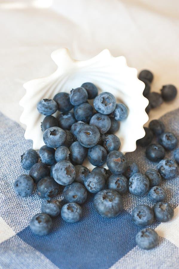 蓝莓特写镜头 新近地摘在木碗的蓝莓在土气背景 库存图片