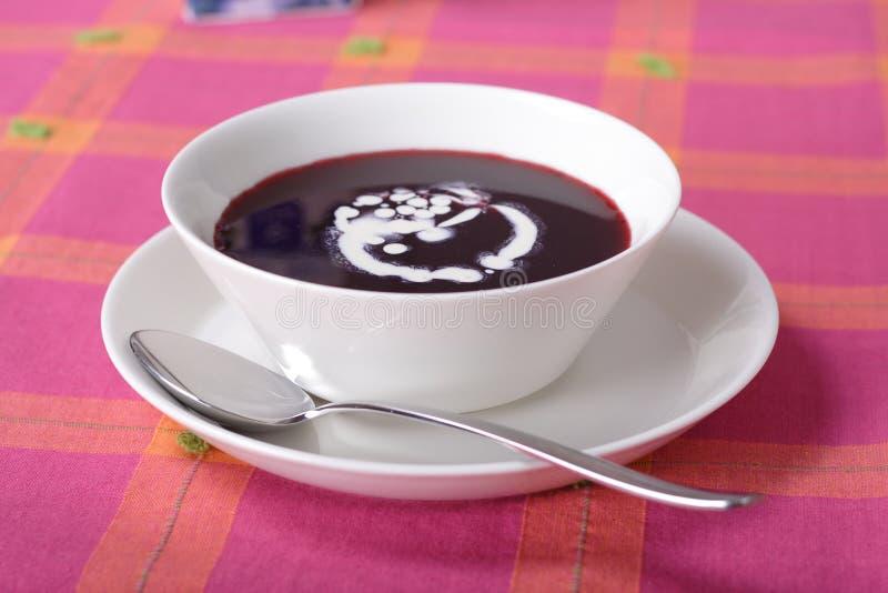 蓝莓碗汤甜点 免版税图库摄影