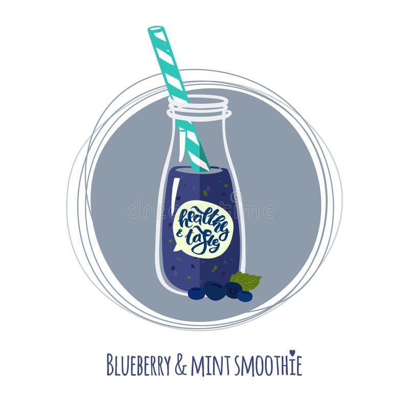 蓝莓&薄菏圆滑的人 向量例证