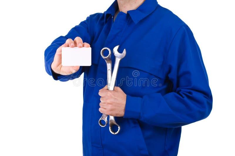 蓝领工人。 库存图片