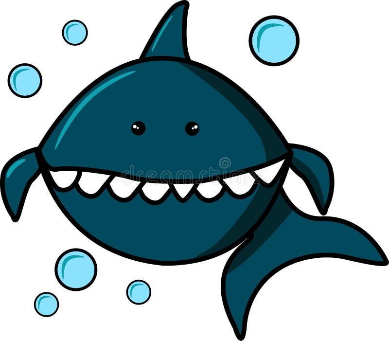 蓝鲨鱼和泡影在白色背景 印刷品的卡通人物在T恤杉,运动衫,T恤杉,礼物 皇族释放例证