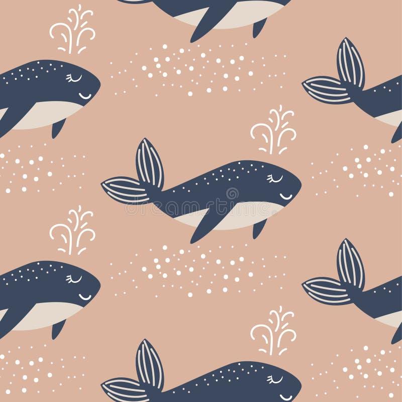 蓝鲸无缝的传染媒介样式 逗人喜爱的样式蓝色乐趣鱼背景 库存例证