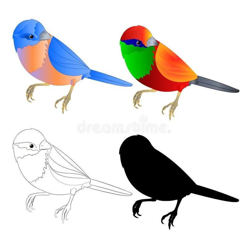 蓝鸫小鸟鹅口疮和热带鸟剪影和概述在编辑可能一个白色背景葡萄酒传染媒介的例证 向量例证
