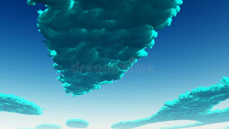 蓝绿色云彩 库存例证