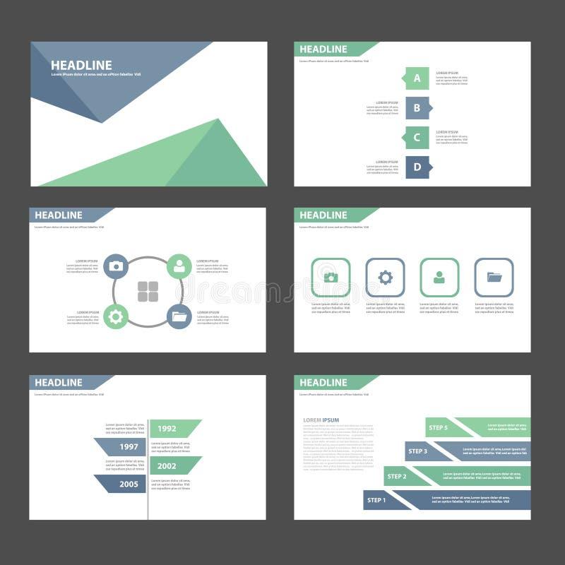 蓝绿色多用途Infographic元素象介绍模板平的设计为给营销小册子飞行物做广告设置了 库存例证