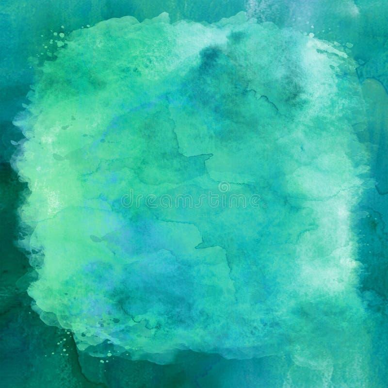 蓝绿色水色小野鸭绿松石水彩纸背景 免版税库存图片