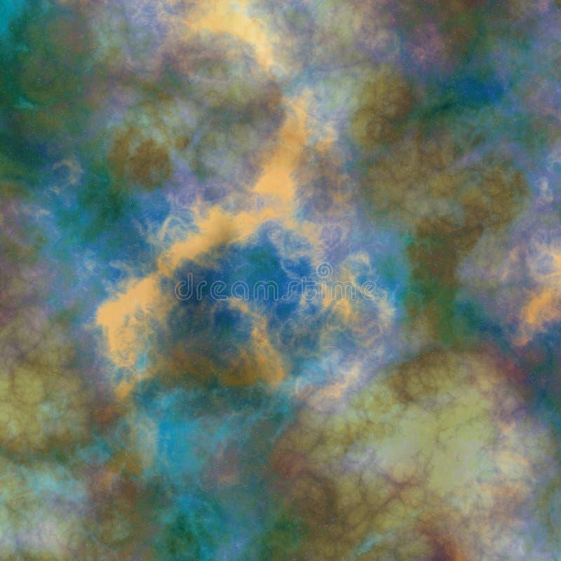 蓝绿色黄色星云彩 图库摄影