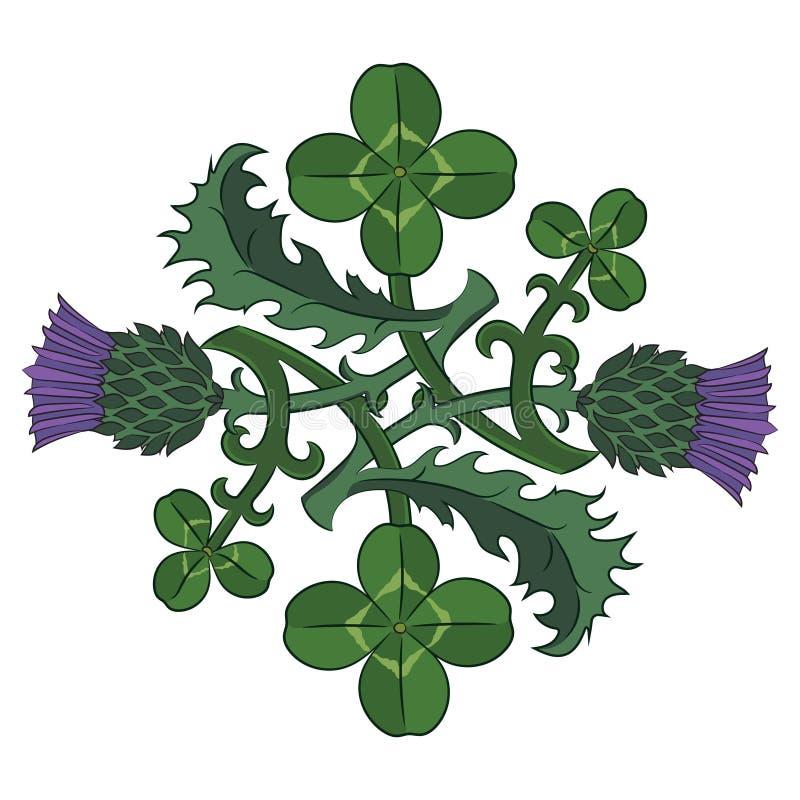 蓟和三叶草 爱尔兰和苏格兰的标志 扭转的三叶草和蓟 向量例证