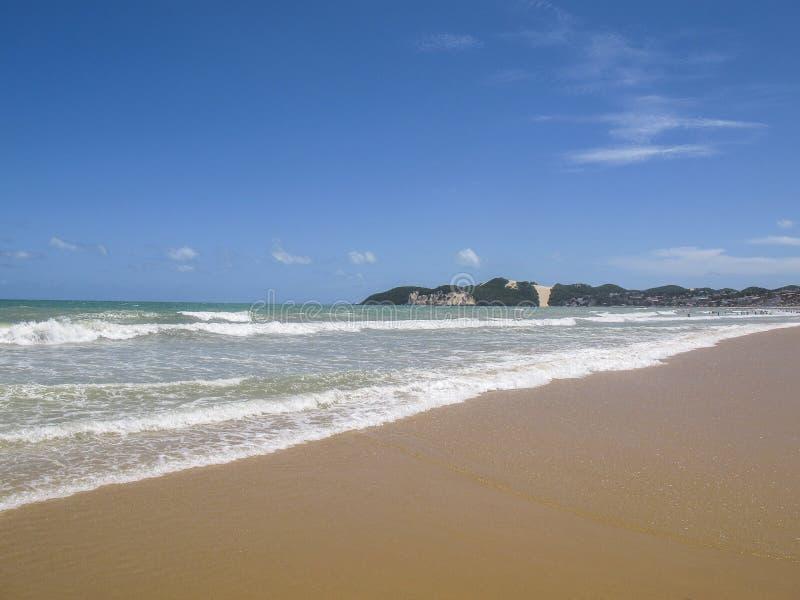 蓬塔内格拉海滩和Morro做卡雷卡-海滩新生,北里约格朗德,巴西的东北海岸 库存照片