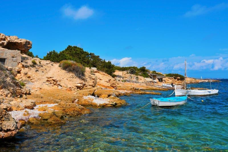 蓬塔Sa Pedrera de在Formentera,巴利阿里群岛,西班牙 免版税库存图片