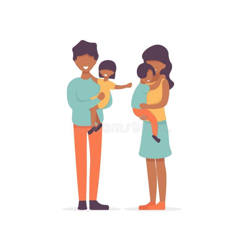蓬松卷发家庭、父亲和daugther、母亲和儿子 皇族释放例证